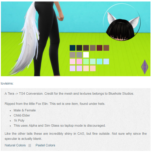 Mod The Sims - This tail or a similar one without the ears