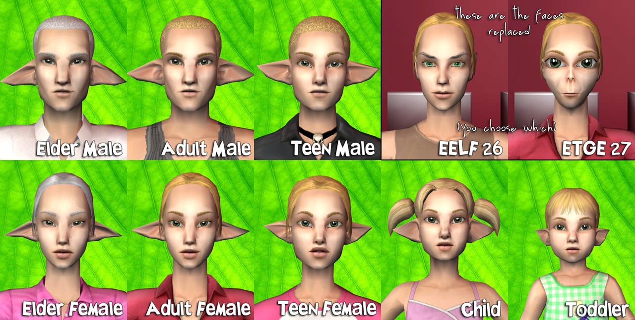 mod the sims large eared elf face template