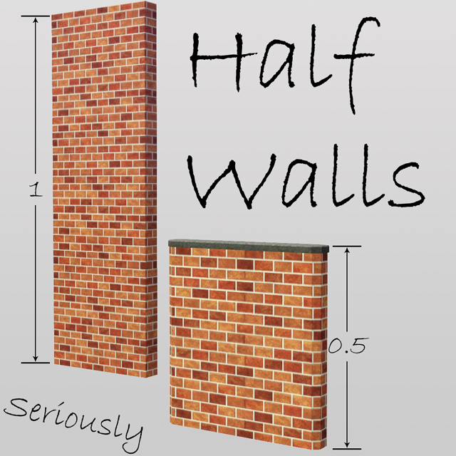 Mod The Sims - Half Walls, Seriously - Updated 24th Dec Sims 1 Walls