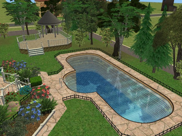 Mod the sims riverblossom manor for Pool area designs