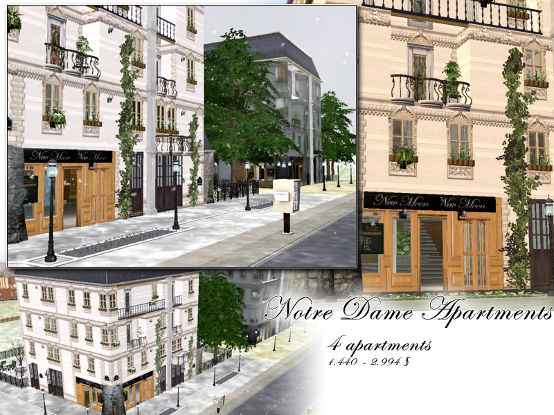 Mod the sims notre dame apartments for Apartment design sims 3