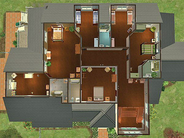 Mod the sims rambling victorian 6 bedrooms for large for Master bedroom with attached nursery