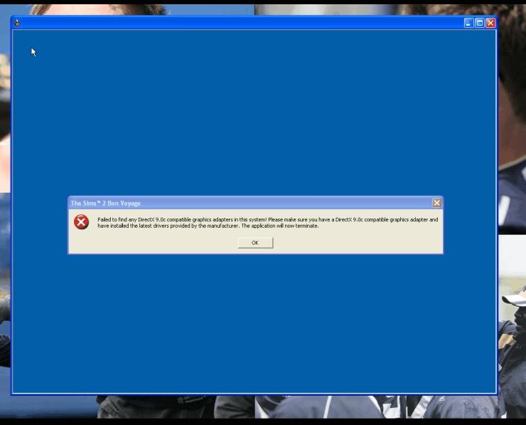 Mod The Sims - Bon Voyage Crashes   DirectX 9 0C Compatible