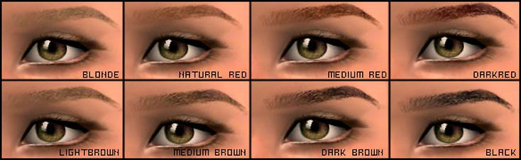Mod The Sims Glamorous Eyebrows 8 Colors