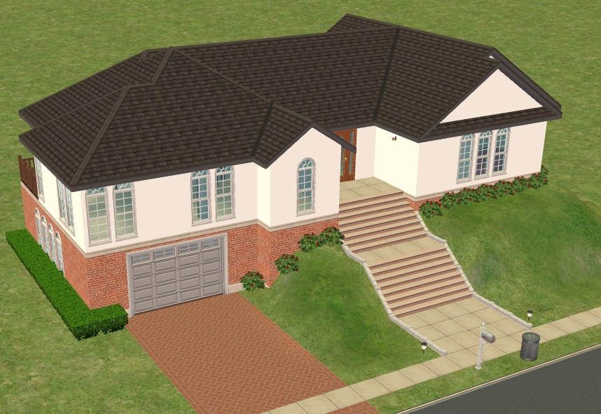 Mod the sims hillside house with basement garage no cc for Building a house on a slope