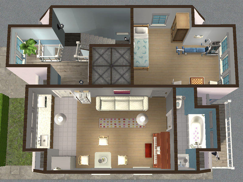 Mod the sims backdoor lane 55 another apartment mini for Apartment design sims 3