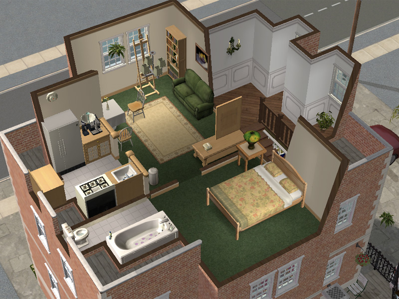 Mod the sims backdoor lane 64 small apartment house for Sims 3 dining room ideas