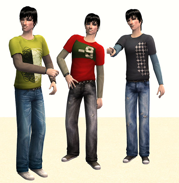 Mod The Sims - Teen Style Baggy Jeans Outfit converted for ...