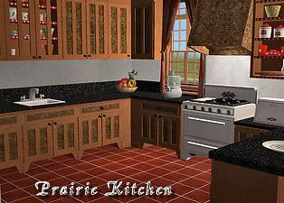 Mod the sims new kitchen prairie style stove for Prairie style kitchen