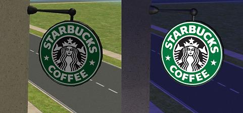 Mod The Sims Starbucks Coffee Lighted Shop Signs