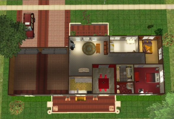 mod the sims - brick red home
