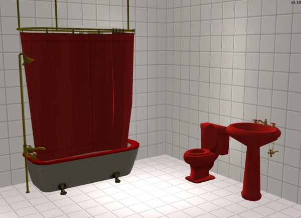 Here Is A Basic Set Of Bathroom Fixtures: Toilet, Sink U0026 Shower Curtain.  Made To Match The Original Red Colored Maxis Colonial Bathtub U0026 The  Colonial Combo ...