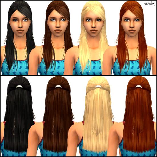 Sims 2 Hairstyles: XM Barrette Hair Retexture