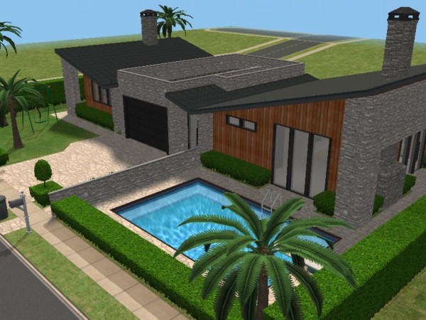 60 39 s moderna beach house the sims 3 version for Casa moderna los sims 3