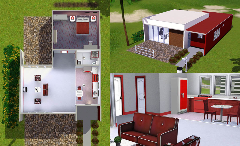 Mod the sims casa moderna 3 modern starter homes 2 for Small starter house plans