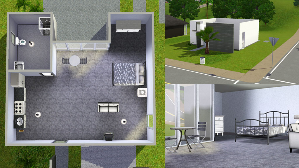 Mod the sims casa moderna 3 modern starter homes 2 for Casa moderna grigia