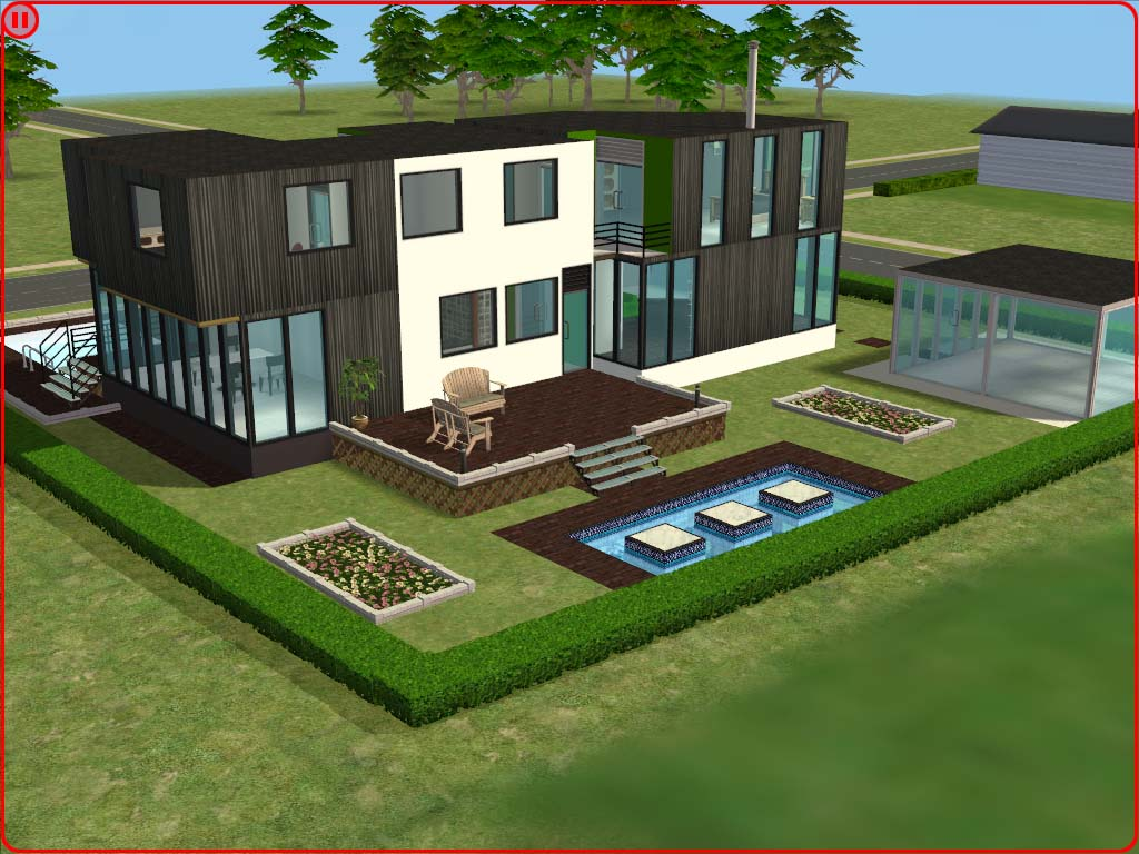 Mod the sims ultra modern house for Minimalist house sims 2