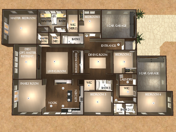 5 bedroom floor plans one story 2
