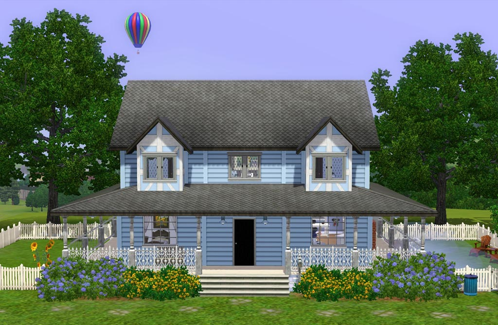 Mod the sims blue wrap around porch house for Wrap around porch cost