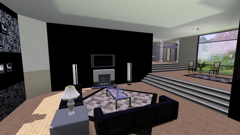 Mod the sims black 39 n 39 white inspired modern split home for Really big modern houses