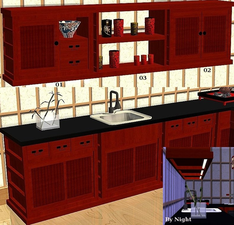 Mod the sims japanese inspired kitchen set sushi 13 for Asian inspired kitchen cabinets