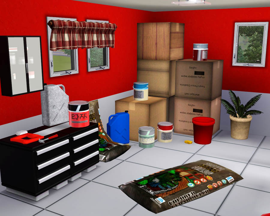 Mod the sims garage clutter for 4 box garage