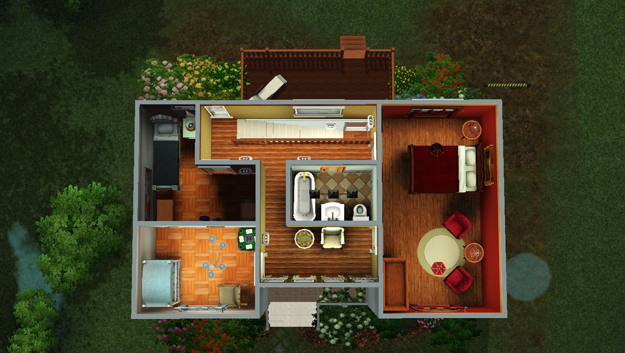 Mod the sims classic family home no cc 3bed 2bath for House plans for family of 4