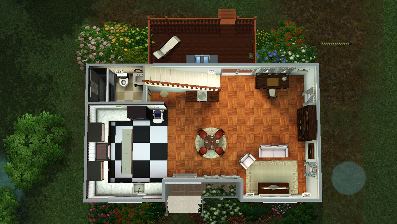 Mod the sims classic family home no cc 3bed 2bath for Tiny home for family of 4
