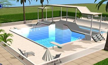Mod the sims sunrise boulevard a luxury community lot for Pool design sims 4
