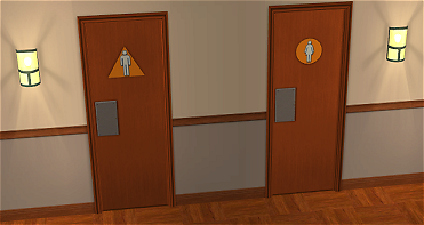 x & Mod The Sims - More normal wood color for the restroom doors.