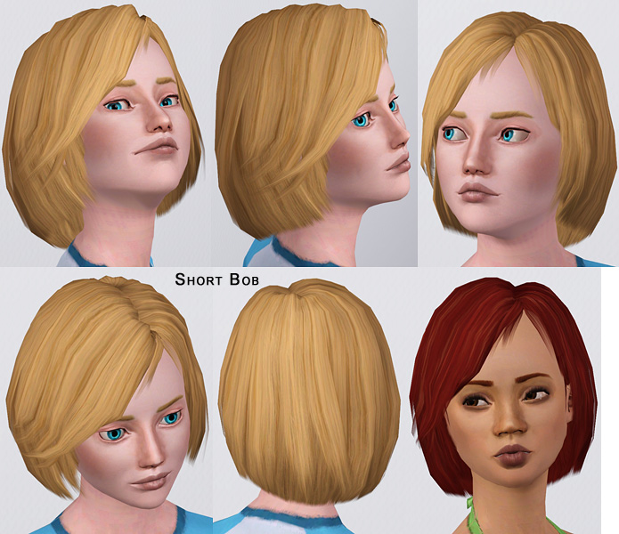 Mod The Sims Shorter Bob For Male And Female All Ages