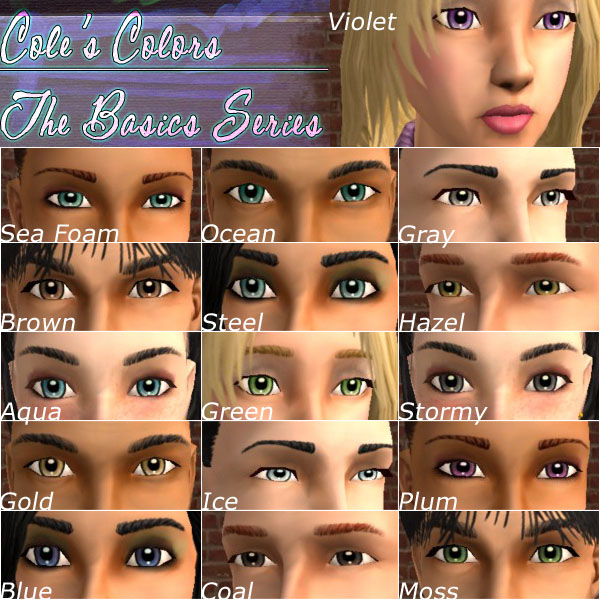 Mod The Sims - Cole's Eye Colors - The Basics Series, containing 16