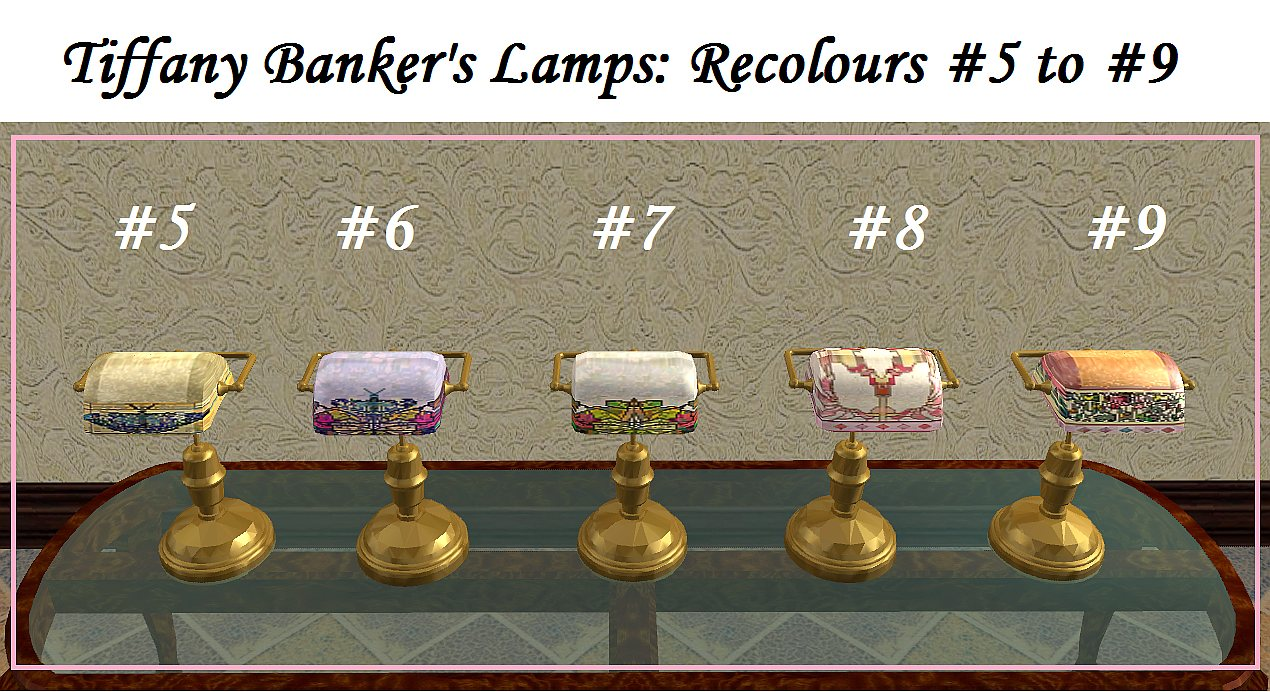 Mod the sims antique bankers lamps tiffany recolours may these stained glass antique bankers lamp tiffany recolours shine light in your simmies life aloadofball