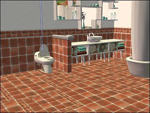 mod the sims burnt orange bathroom tile set