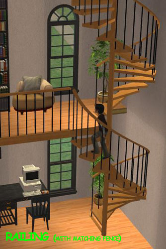 Mod the sims pack of fully animated spiral stairs for Square spiral staircase