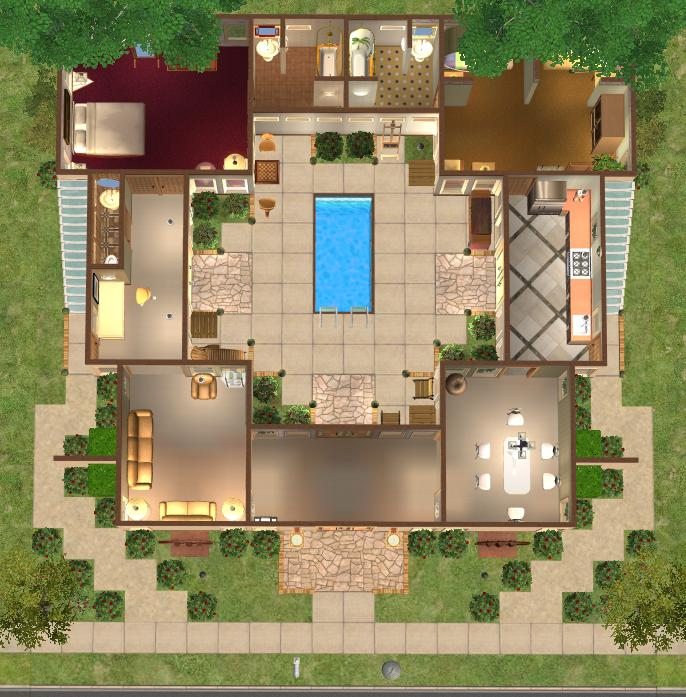 Mod the sims ramps underground basements enclosed for Enclosed courtyard house plans