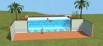 Mod the sims swimming pool wall just add a house for Pool design sims 3