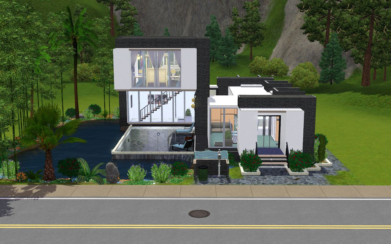 Mod the sims 39 pool cubed 2 bd 1 br modern home for Pool designs sims 4
