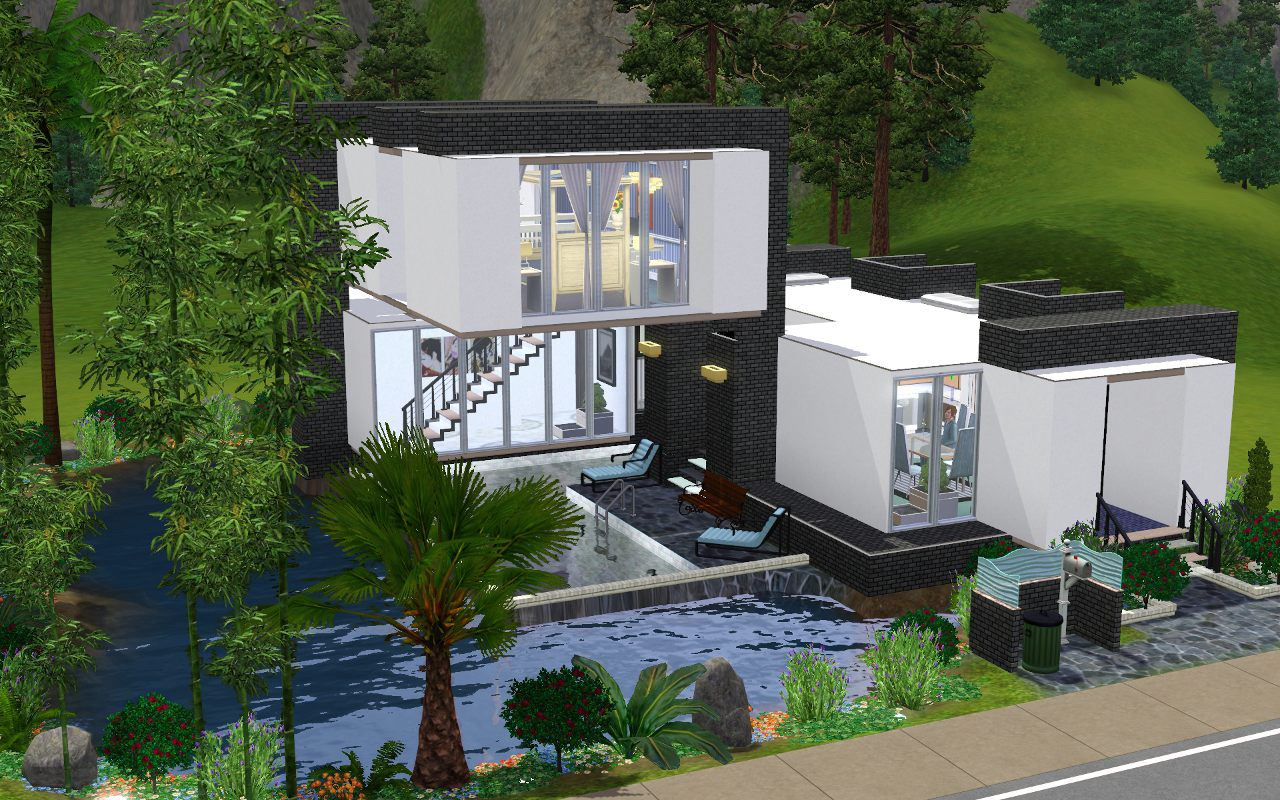 Mod the sims 39 pool cubed 2 bd 1 br modern home for Simple modern house sims 4