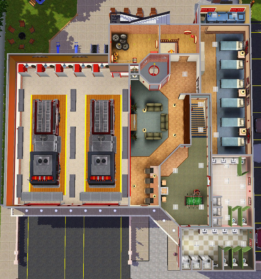 Mod the sims sunset valley fire department for Fire station floor plans design
