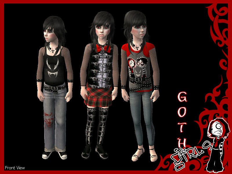 Mod The Sims - 3 No Mesh Goth Outfits for Little Girls