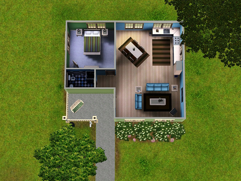 Mod the sims lil green bungalow a small home for your sims for Small starter house plans