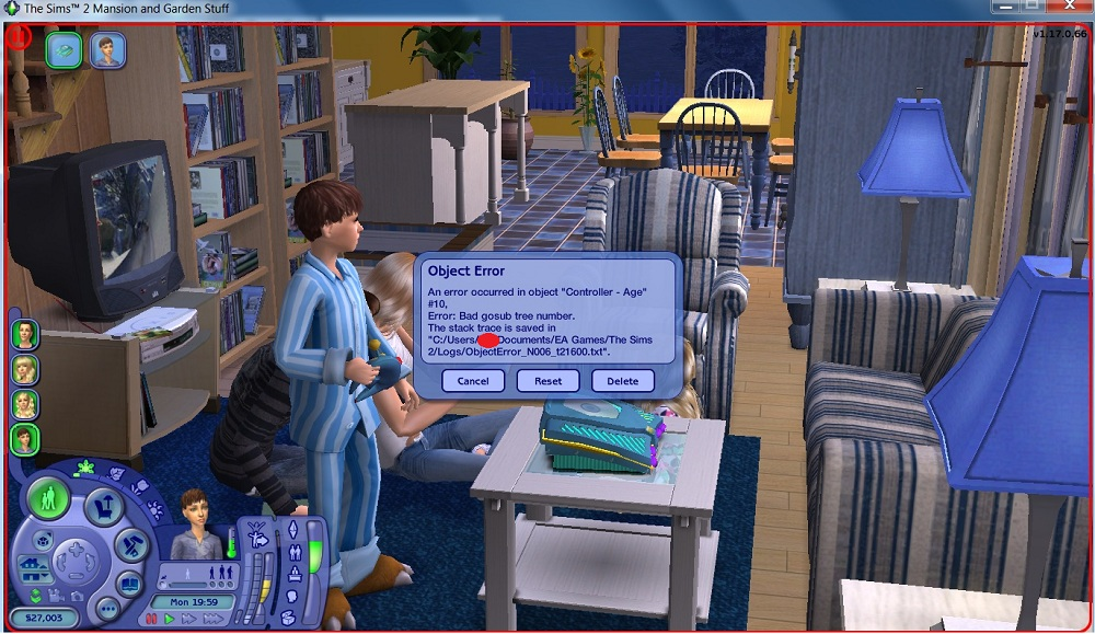 the sims 2 update error