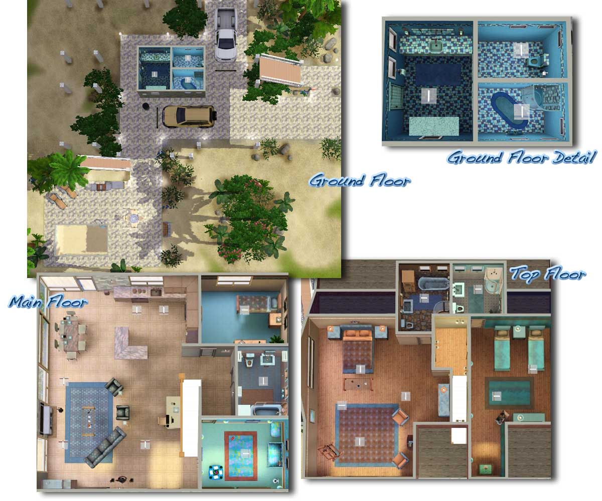 Sims 3 beach house floor plans for Beach house plans sims 3