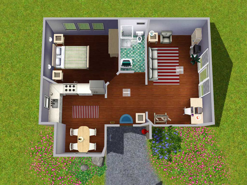 Mod the sims the contemporarian starter home for Starter home floor plans