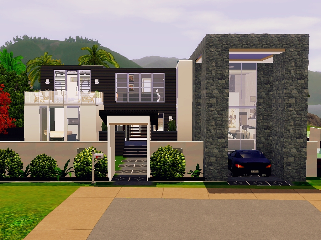 Sims 3 Modern Mansion Floor Plans: Modern Beach House (No CC