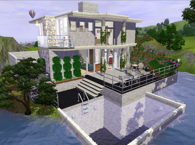 Mod the sims sunflower breeze modern house 1 4 sims for Big modern house sims 4