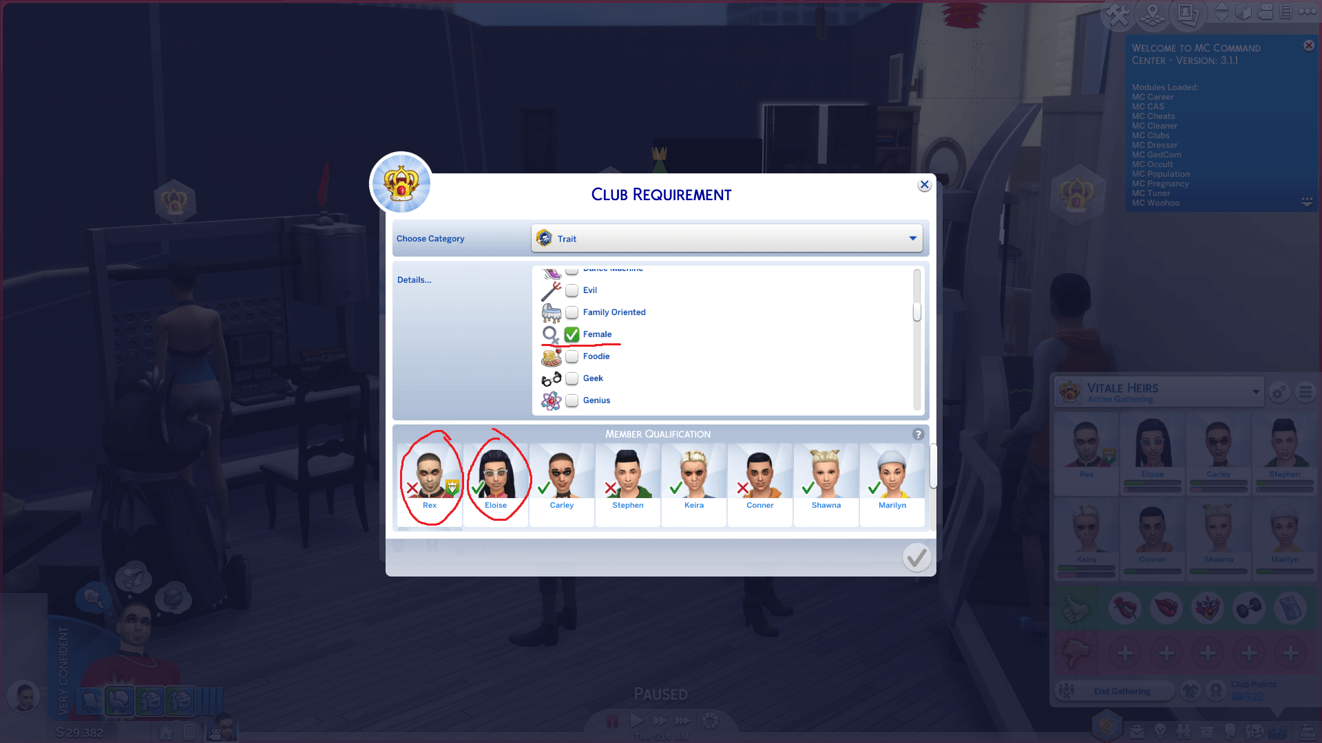 Mod The Sims - More Club Members [& Gender Requirements!]