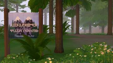 a pine forest in morning, with a town sign for Twin Peaks written in Simlish